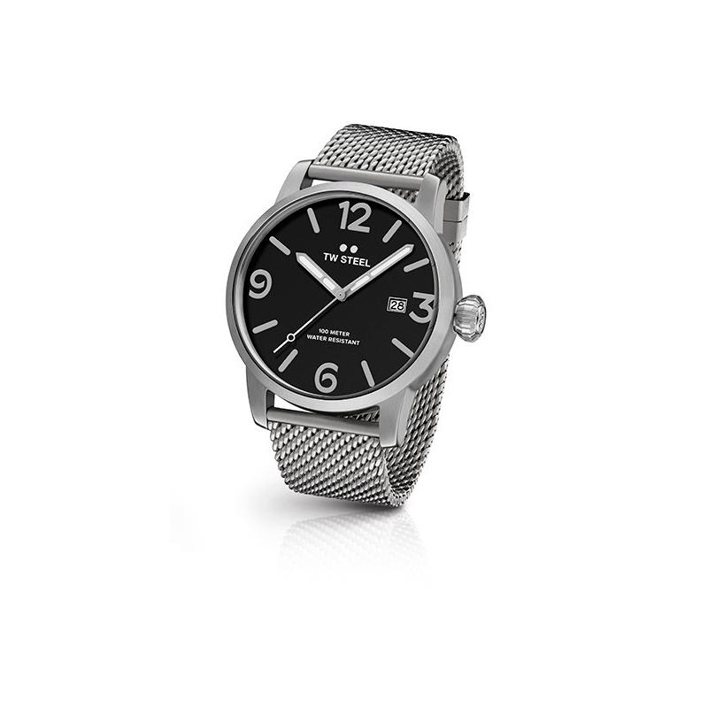 """Reloj Tw Steel de hombre """"Maverick"""" en 45 mm., en acero, esfera negra y malla MB11"""