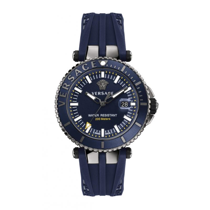 """Reloj Versace """"V-Race"""" de hombre con caja chapada en gris y correa silicona azul VAK02 0016"""