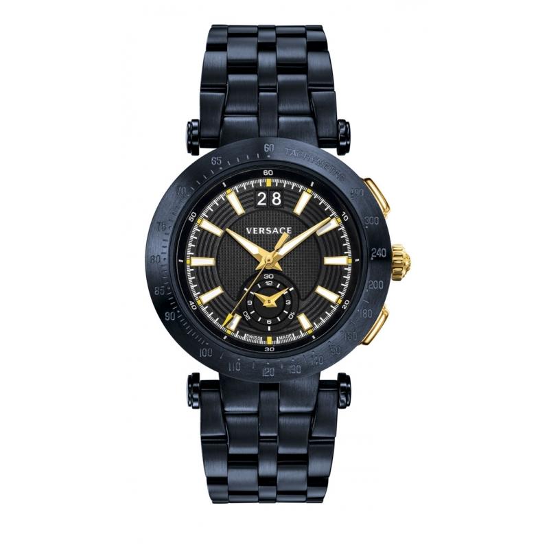 """Reloj Versace de hombre """"V-Race Sport"""" en acero chapado azul y detalles dorados VAH05 0016"""