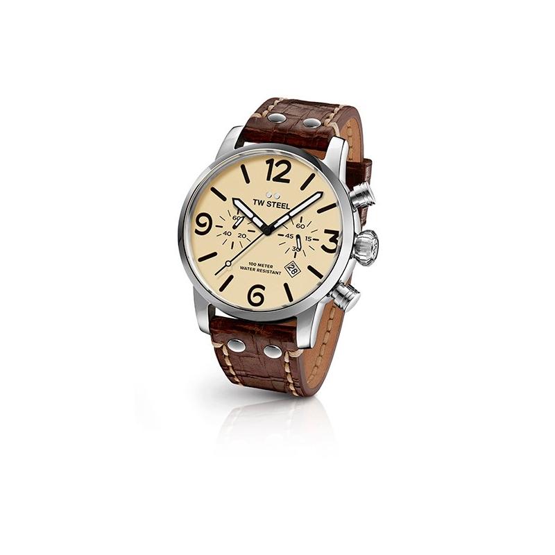 Reloj Tw Steel Maverick de hombre con 45mm, cronógrafo con esfera beige y correa MS23