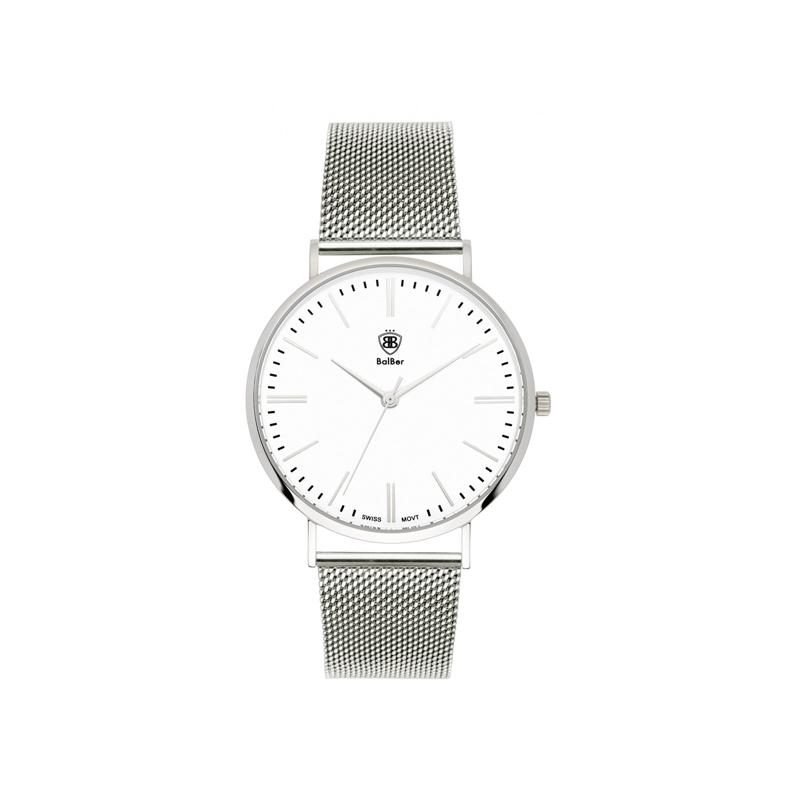 """Reloj Balber unisex """"Original Mesh"""" de acero con esfera blanca y malla."""