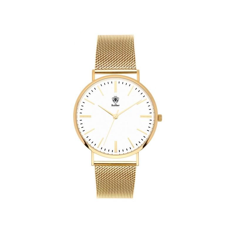"""Reloj Balber unisex """"Original Mesh"""" con esfera blanca y malla dorada en oro amarillo."""