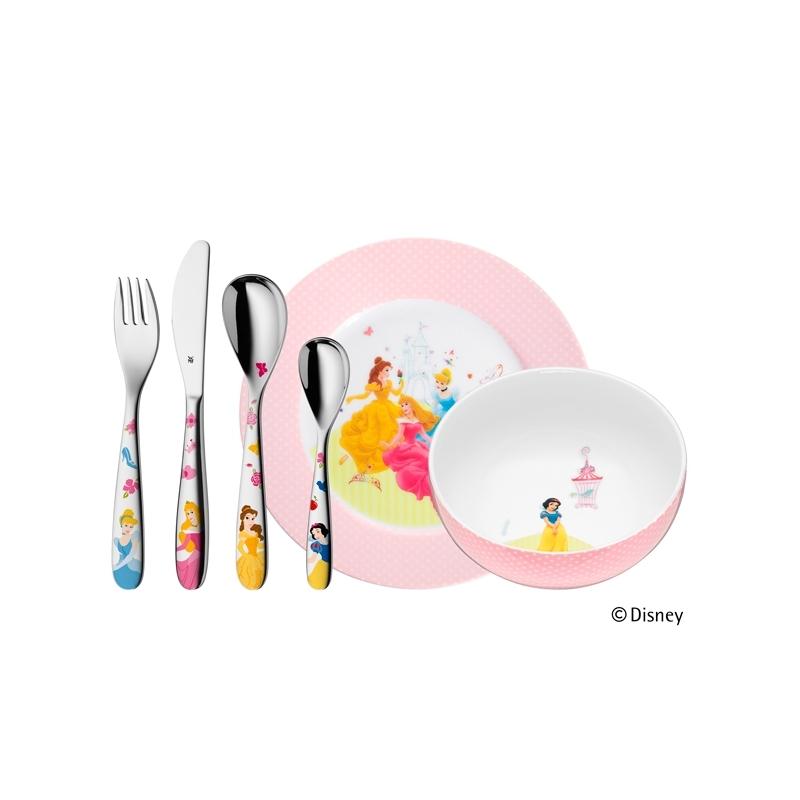 Juego de cubiertos de acero para niña con vajilla de Princesas Disney®, en WMF, 6 piezas.