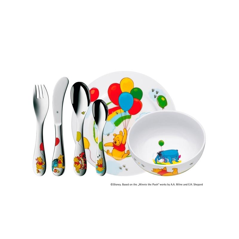 """Set de cubiertos de acero para niños/niñas con vajilla """"Winnie the Pooh"""" de WMF, con 6 piezas."""