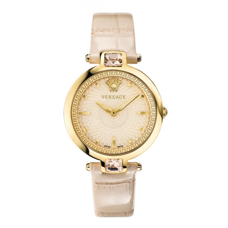 """Reloj Versace para mujer """"Crystal Gleam"""" dorado con piedras Swarovski y correa beige VAN05 0016"""