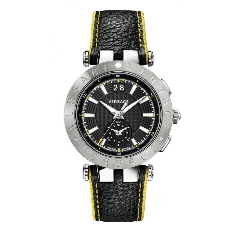 """Reloj Versace """"V-Race"""" de hombre en acero con cronógrafo y correa extra de piel VAH01 0016"""