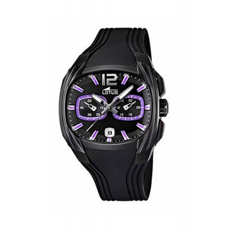 """Reloj Lotus de hombre """"Enjoy"""" en negro con cronógrafo y detalles morados 15757/3"""