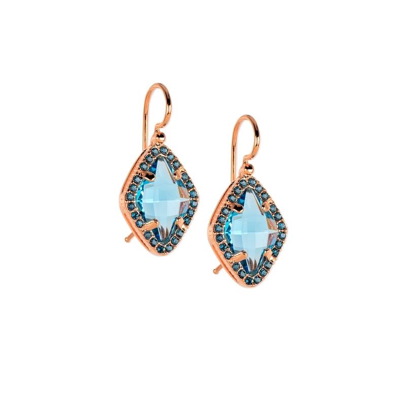 Pendientes de plata dorado en oro rosa y piedra Swarovski® azul, de Maximo Betro, 0404