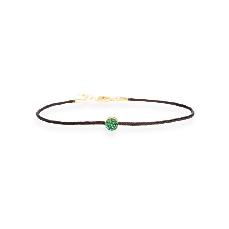 """Pulsera con plata dorada y circonitas verde, cordón de seda, """"Uma"""" de Luxenter."""
