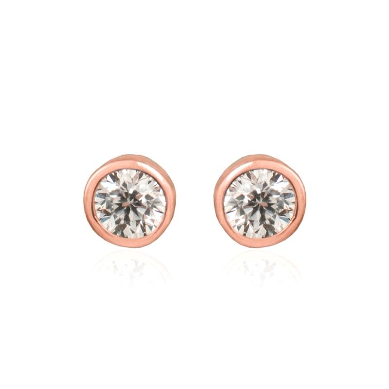 """Pendientes de plata dorada en oro rosa con circonita, """"Dakarai"""" de Luxenter."""