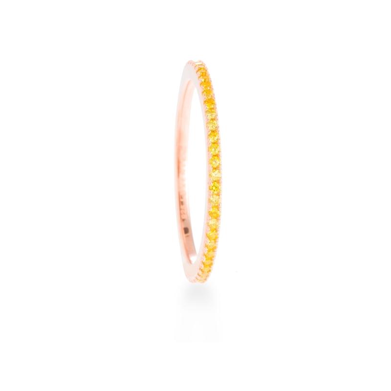 """Anillo de plata dorada en oro rosa con circonitas amarillas, """"Mwea"""" de Luxenter."""