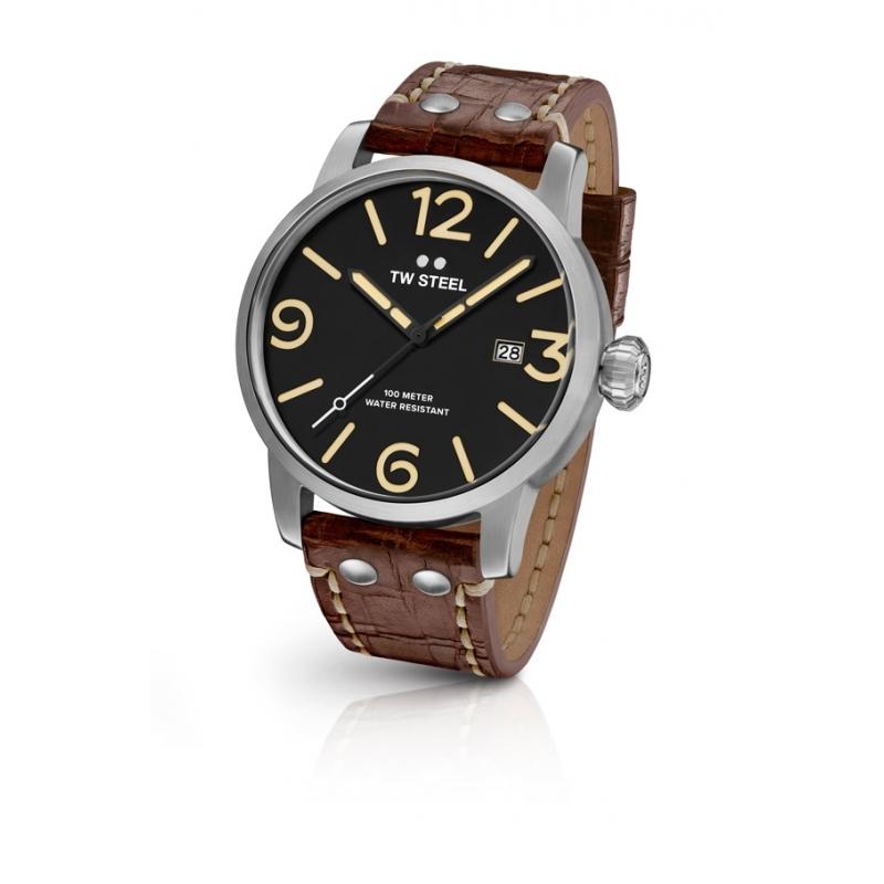 Reloj Tw Steel Maverick de hombre, con 45mm, esfera negra y correa de piel desgastada MS01