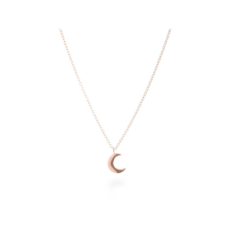 "Colgante de plata dorado en oro rosa, con forma de luna, ""Crescent"" de Luxenter."