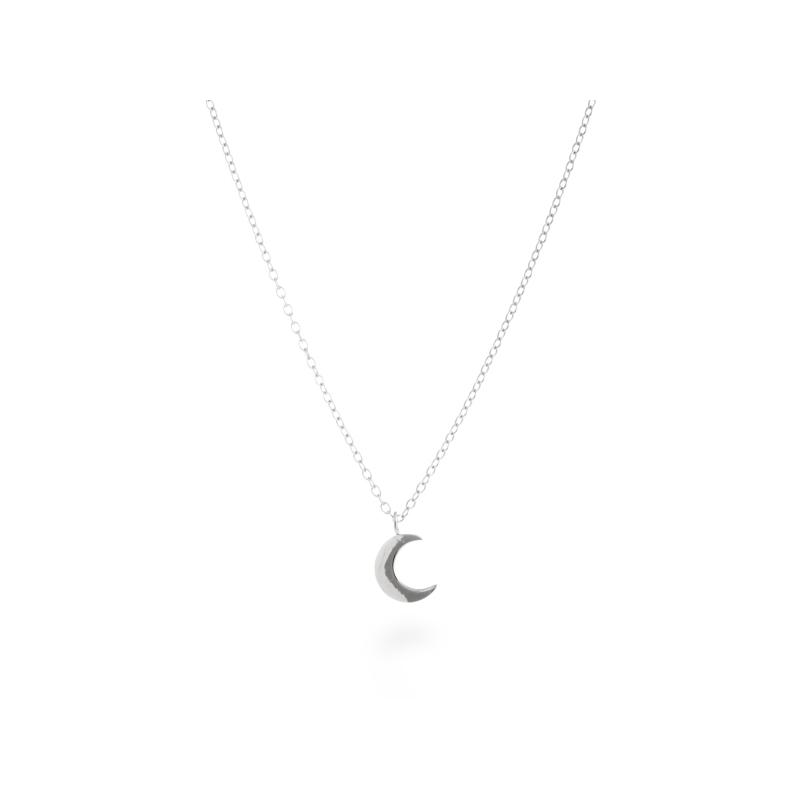"""Colgante de plata rodiada en forma de luna, cadena incluida, """"Crescent"""" de Luxenter."""