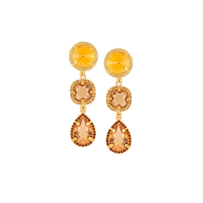 Pendientes de plata dorados en oro con piedras en colores champang Swarovski®, de Maximo Betro.