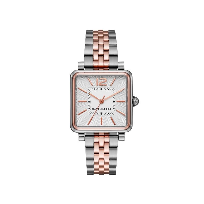 """Reloj Marc by Marc Jacobs de mujer """"Vic"""" cuadrado en acero bicolor rosado MJ4363."""
