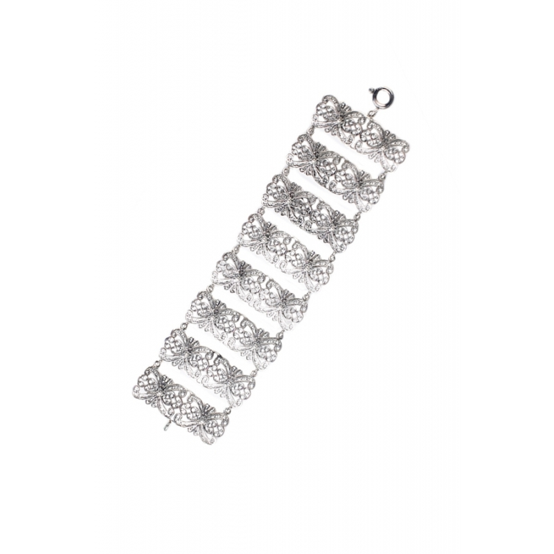 Pulsera articulada de filigrana en plata envejecida, para novia, de Antara.
