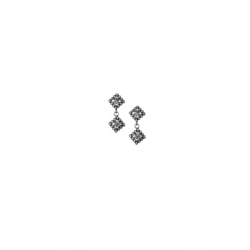 Pendientes de plata envejecida con piedras Swarovski® para novias, de Antara.