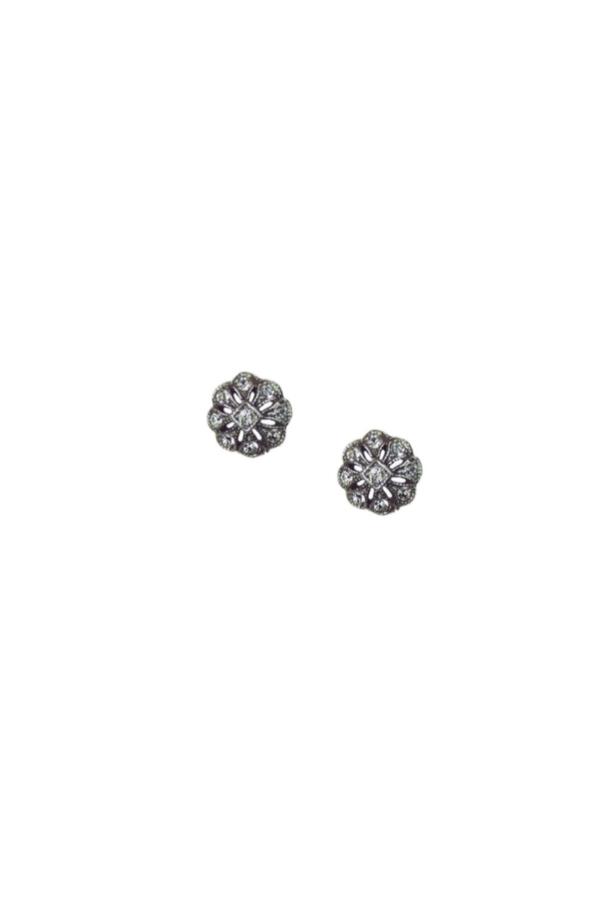 Para estrenar b3a3d 2c272 Pendientes pequeños de plata envejecida con piedras Swarovski® para novias,  de Antara.