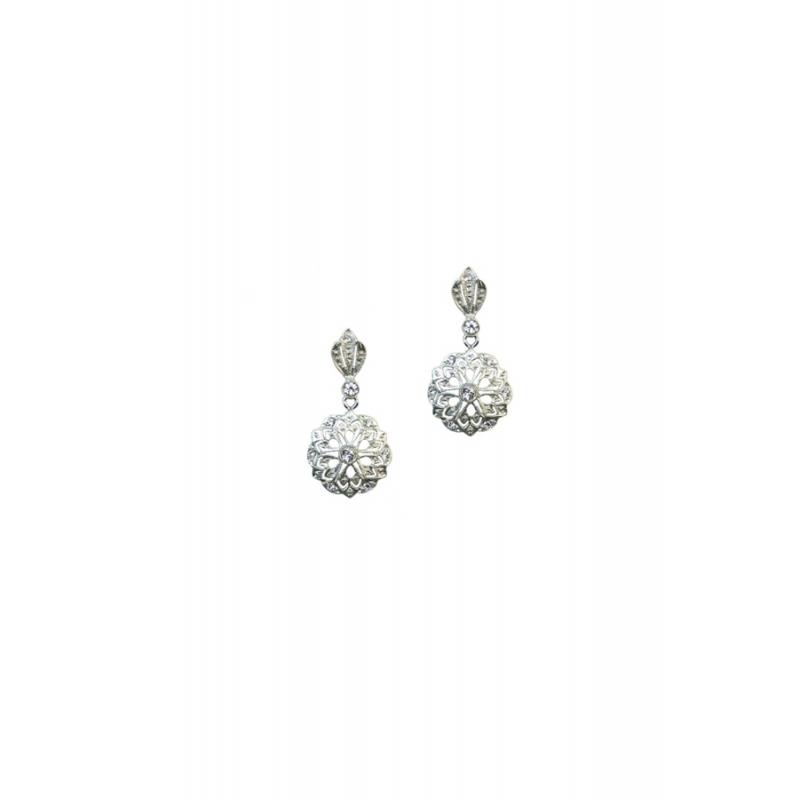 Pendientes de plata rodiada con piedras Swarovski® para novias, de Antara.