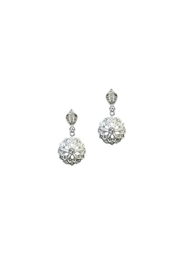 10ccbb5684d8 Pendientes de plata rodiada de estilo isabelino con piedras ...
