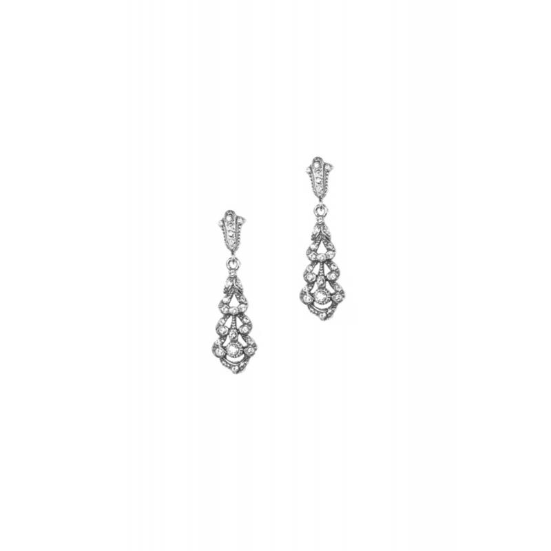Pendientes de estilo isabelino en plata envejecida con piedras Swarovski® para novias, de Antara.
