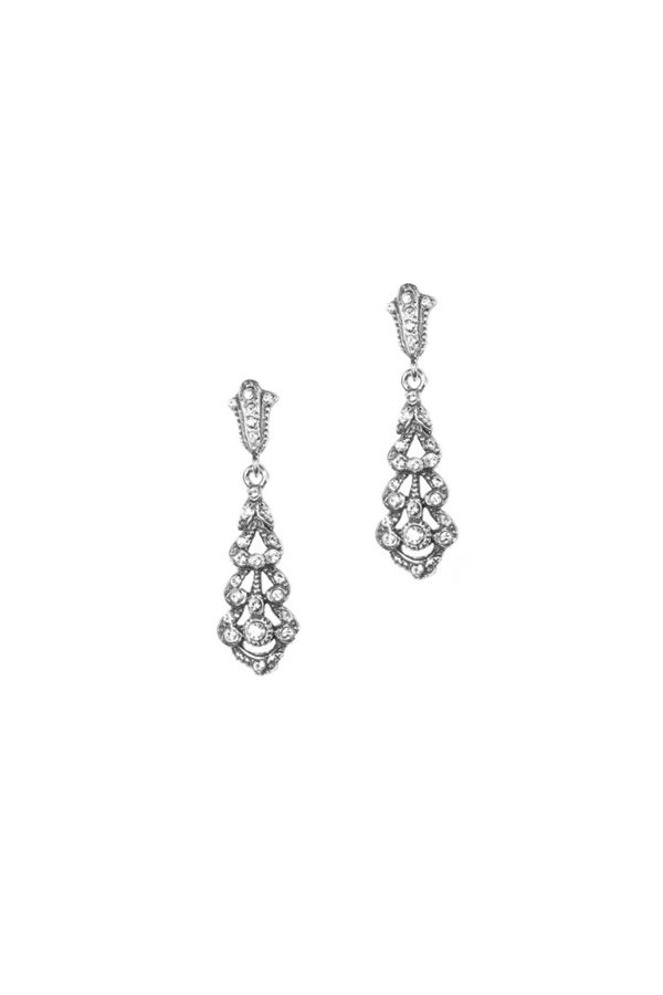 dfd87b62c736 Pendientes de estilo isabelino en plata envejecida con piedras Swarovski®  para novias