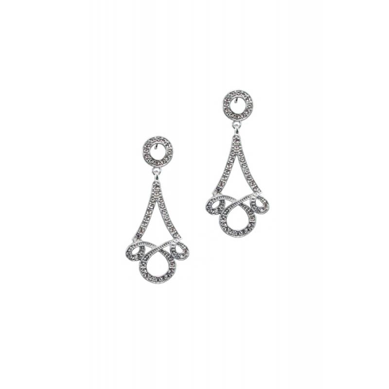 Pendientes de plata rodiada para novia, con piedras Swarovski®.