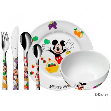"""Cubiertos de acero de """"Mickey Mouse"""" de Disney© para niño o niña, con vajilla, de 6 piezas WMF."""