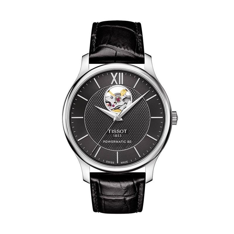 "Reloj Tissot automático ""Tradition"" de hombre con ventana a maquinaria T0639071605800."