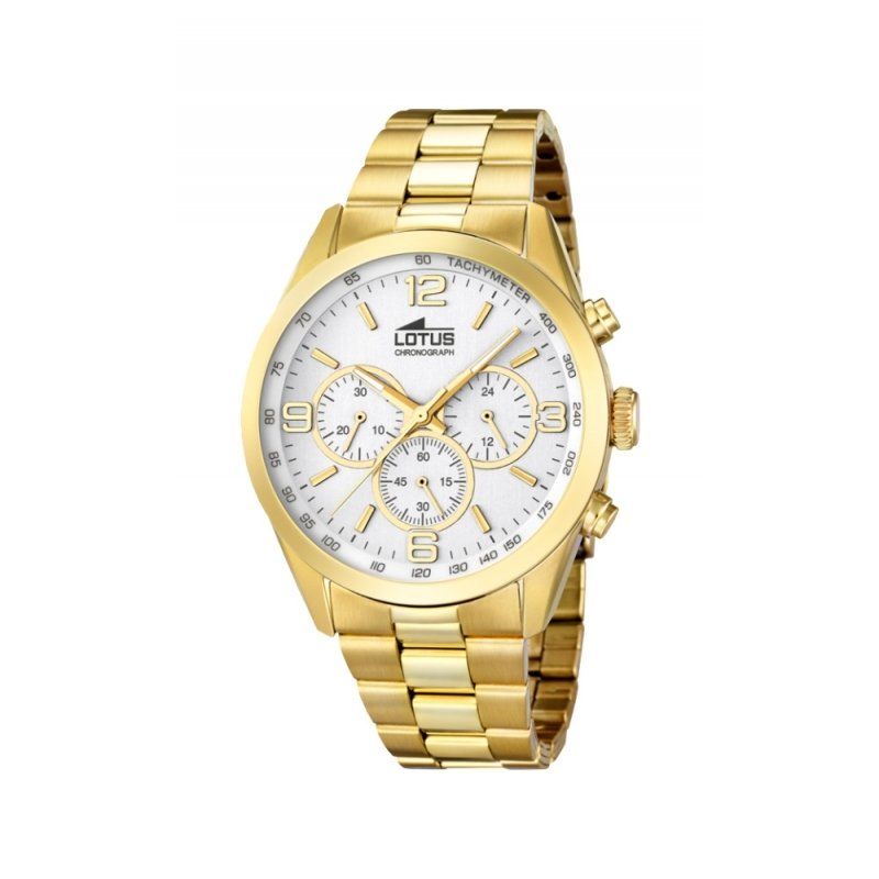 "Reloj Lotus de hombre ""Minimalist"" dorado en oro amarillo con cronógrafo 18153/1."
