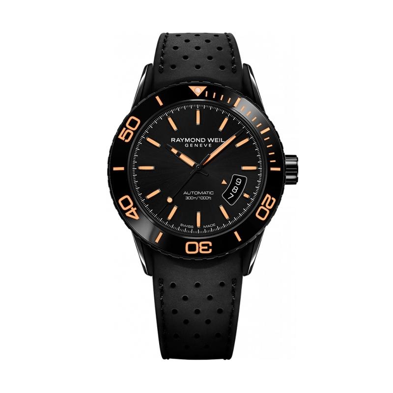 "Reloj Raymond Weil automático de hombre ""Freelancer"" en negro con detalles naranja 2760-SB2-20001."