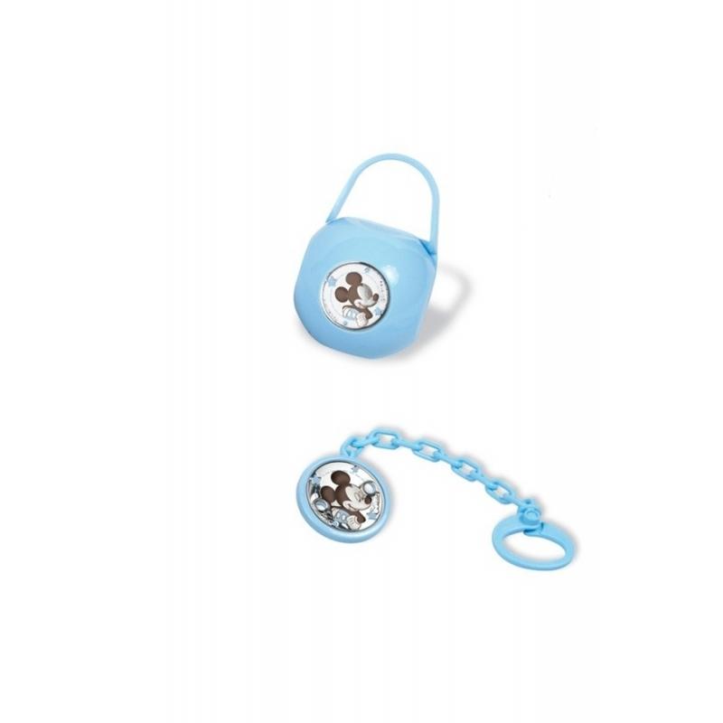 "Caja guardachupete con pinza para niño en azul con plata ""Mickey"" de Italsilver."