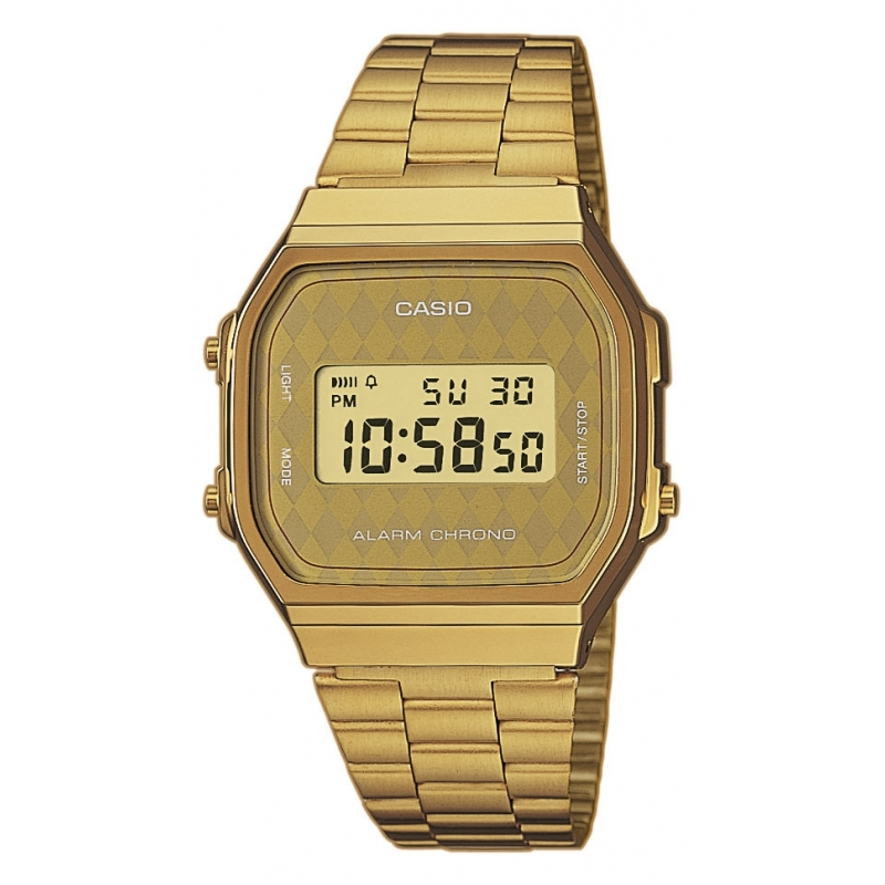 Reloj Casio Retro Collection dorado con pantalla de rombos A168WG-9BWEF.