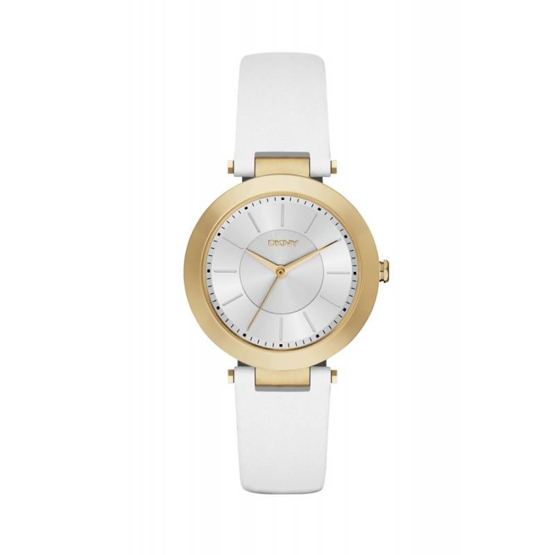 """Reloj DKNY de mujer """"Stanhope"""" con caja dorada y correa piel blanca NY2295."""