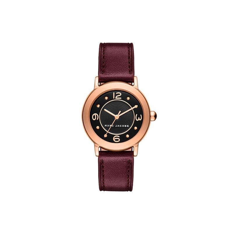 """Reloj Marc Jacobs de mujer """"Riley Mid"""" con caja dorada y correa morada MJ1474."""