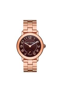 """Reloj Marc Jacobs de mujer """"Riley"""" dorado en oro rosa con esfera marrón MJ3489."""