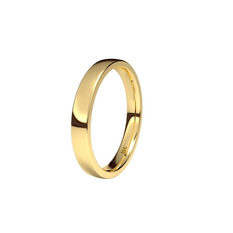 """Alianza de oro amarillo de 18 quilates brillo """"Minimals"""" de Eleka, con 3,5 mm de ancho."""