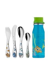 """Cubiertos para niños y niñas con botella metálica, """"Nemo"""" de 5 piezas WMF."""