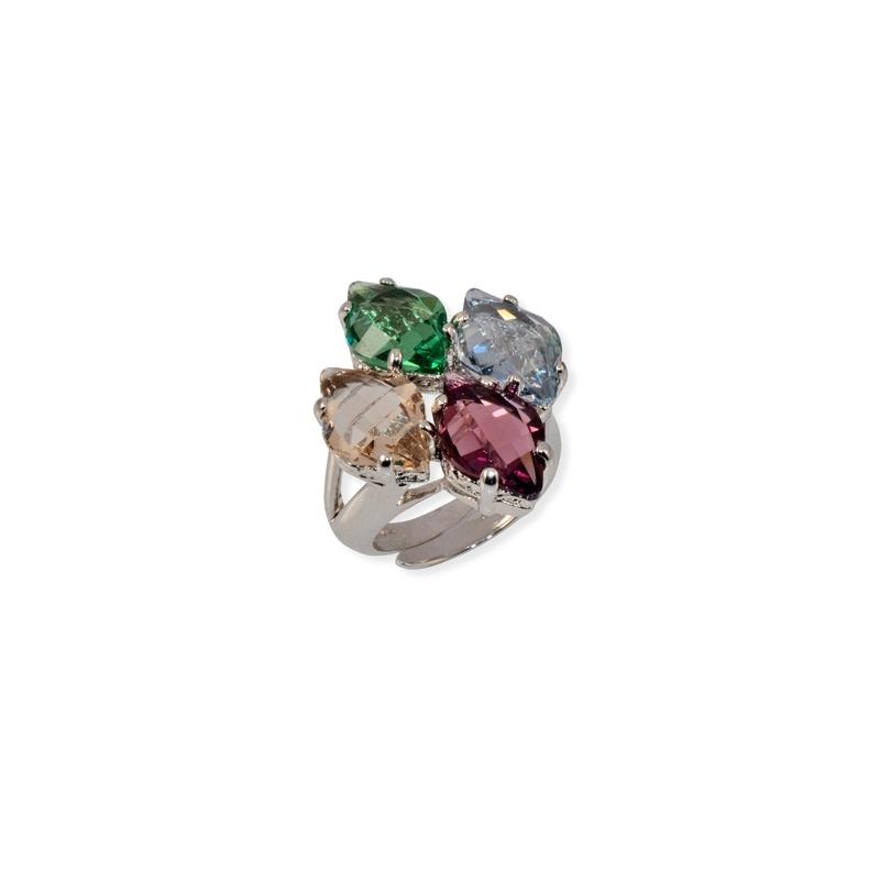Anillo de plata rodiada Maximo Betro, con piedras  Swarovski® en colores ref. 5243.