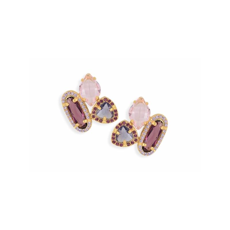 Pendientes de plata dorada en oro amarillo con piedras rosadas de Swarovski®, de Maximo Betro 0410 (1).