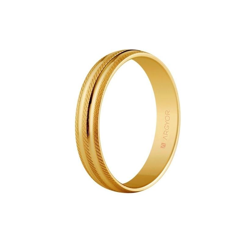 Alianza de oro amarillo labrada de Argyor