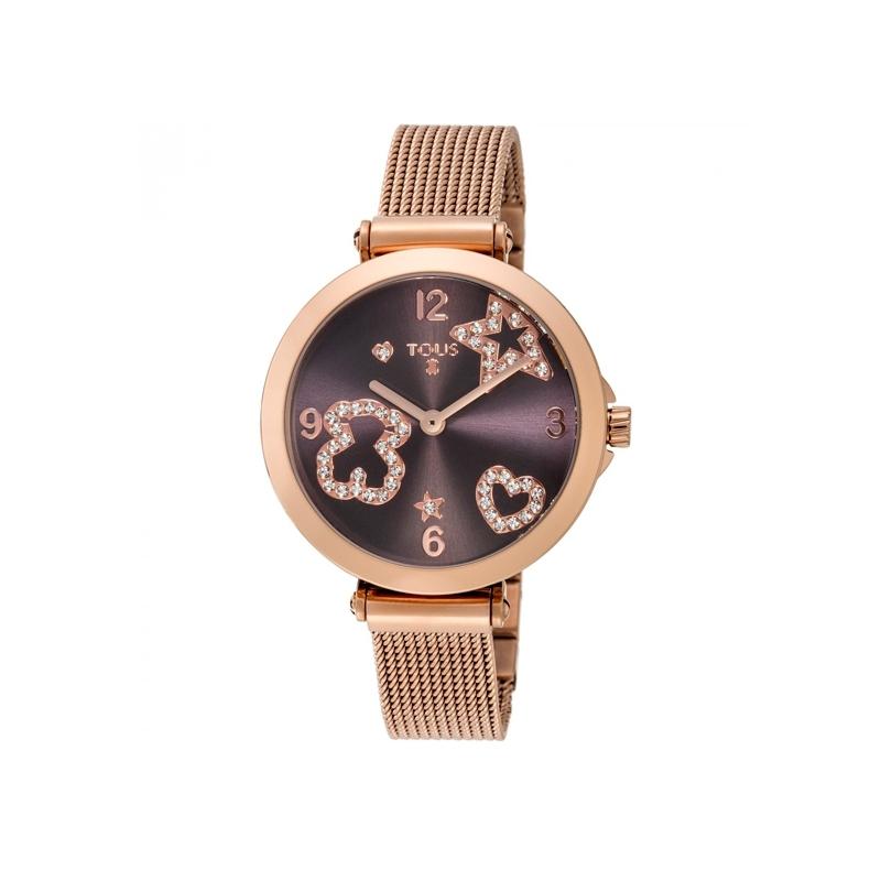 """Reloj Tous de mujer """"Icon Mesh"""" dorado en oro rosé, esfera marrón y circonitas 600350385."""
