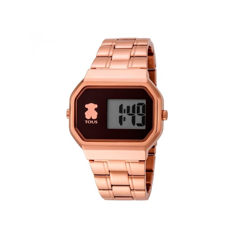 fb31bdc9f Reloj Tous de mujer D-Bear digital, en acero dorado en oro rosé y aire  retro ...