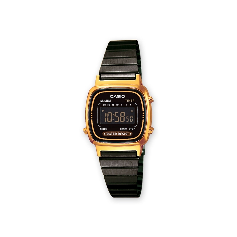 "Reloj Casio de mujer ""Retro Collection"" digital caja dorada y brazalete negro LA670WEGB-1BEF."