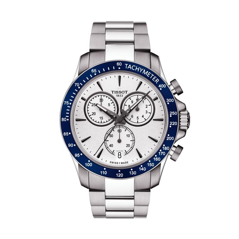 Reloj Tissot V8 de hombre deportivo en acero con cronógrafo y bisel azul T1064171103100.