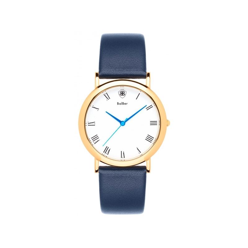 Reloj Balber Doncaster G White Blue unisex dorado, esfera blanca y correa azul.