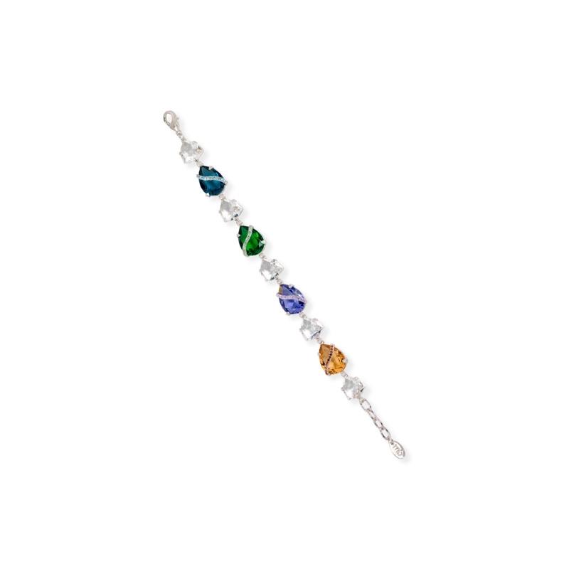Pulsera en plata rodiada con piedras en colores Swarovski®, de Maximo Betro.