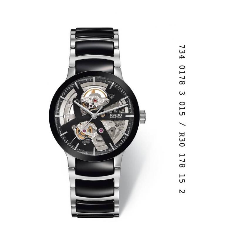 """Reloj Rado automático """"Centrix"""" para hombre tipo """"Skeleton"""", en cerámica negra y acero R30178152."""
