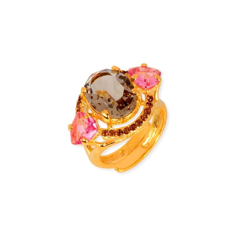 Anillo de plata chapado en oro con piedras Swarovski® marrones y rosas, de Maximo Betro.